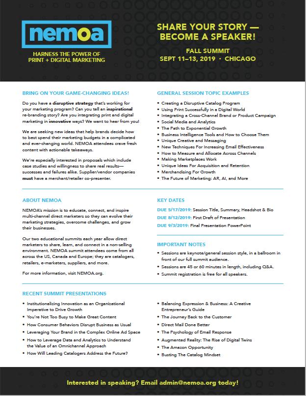 NEMOA Fall 2019 Summit - Speaker Proposals - NEMOA